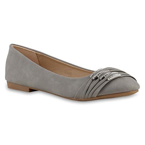 Klassische Damen Strass Ballerinas Elegante Slipper| Übergrößen Metallic Glitzer Flats Schuhe 135356 Hellgrau 42 | Flandell®