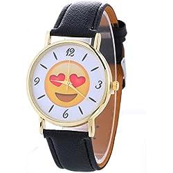 HARRYSTORE Women Neutral Cute Expression Fashion Leather Quartz Wrist Watch