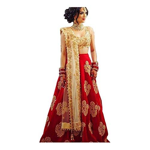 Embroidered Semi Stitched Lehenga, Choli and Dupatta Set (Red) Dupatta Set
