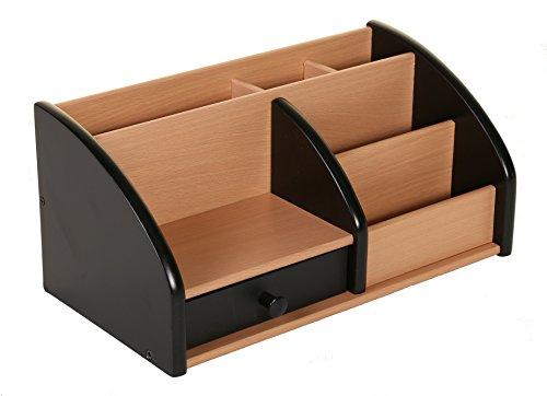"""Osco–Organizador de escritorio, diseño de """"acabado en madera de haya), color Negro / Acabado de haya"""