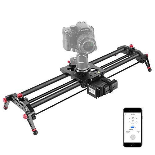 Neewer Motorisierte Kamera Schieber, 80cm APP Steuerung aus Kohlenfaser Schienenschieber Schiene mit Mute Motor/Zeitraffer Videoaufnahme und Fokus Aufnahme für DSLR Kameras