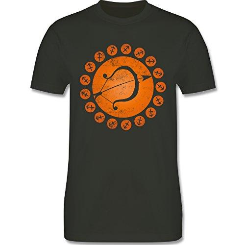 Shirtracer Symbole - Tierkreiszeichen Schütze - Herren T-Shirt Rundhals  Army Grün