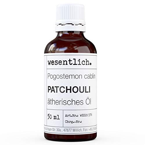 wesentlich. Patchouli Öl - ätherisches Öl - 100% naturrein (Glasflasche) - u.a. für Duftlampe und Diffuser (50ml) -