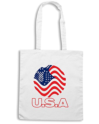 T-Shirtshock - Borsa Shopping WC0112 USA STATI UNITI UNITED STATE. Bianco