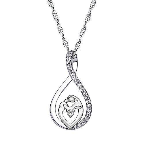 Dunbasi collana da donna, gioielli per mamma e figlia cristallo hollow pendente a goccia regalo per la festa della mamma e rame, colore: silver, cod. 229