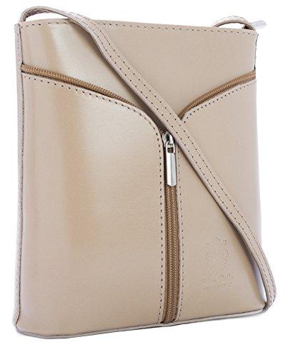 Big Handbag Shop Borsetta piccola a tracolla, vera pelle italiana Medium Beige