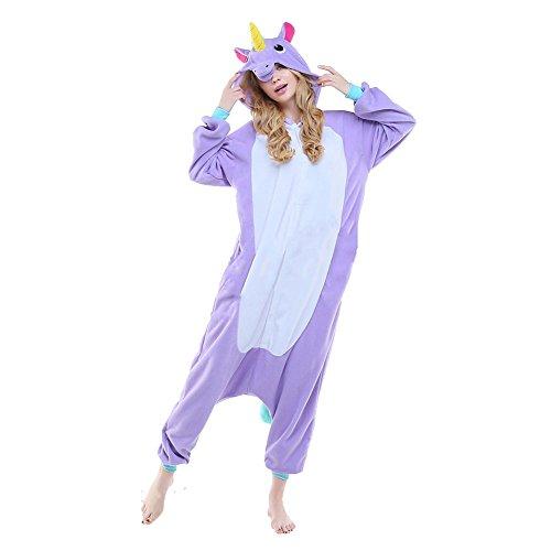 Imagen de m&a pijamas cosplay unicornio franela para disfraz mujer hombre y pareja carnaval hallowen ropa de dormir xl violeta