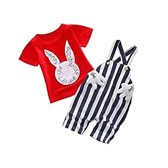 Bold N Elegant White N Red Cute Bunny Rabbit Cartoon Dungaree Baby Boy Girl Clothing Jumpsuit Half Sleeve T-Shirt with Dungaree for 0-2 Year Kids (Red-White, 3-6 Months)