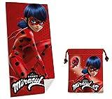 Badetuch / Strandtuch Miraculous Ladybug + 1 Strandtasche oder Sporttasche, 20 x 24 cm