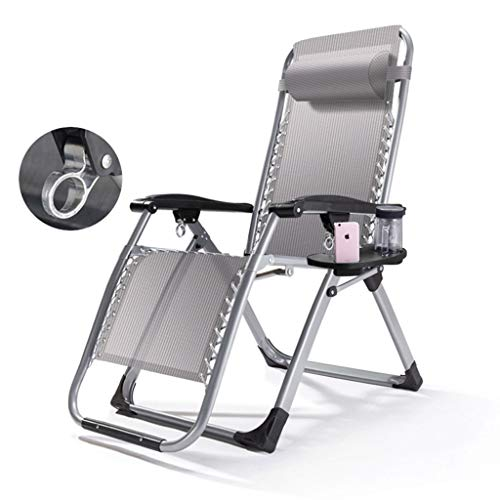 XEWNEGTY Klappstuhl Summer Deck Chair, Tragbarer Sessel, Verstellbare Sonnenliegen, Herausnehmbares Baumwollpad (Größe: 70,8 × 25,5 × 30,3 Zoll) (Farbe : Gray)