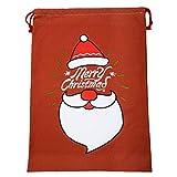 """10 Piezas de Navidad Personalizado para niños Lienzo Bolso de Regalos en Blanco Cordón Bolsas de Estilo de Navidad de tamaño Extra Grande, Bolsas de Regalo para Bodas o Fiestas de 27""""x 18.1"""""""
