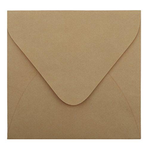 50x Papier Umschläge Briefumschläge Für Einladungen Karten Ankündigung Gruß - Braun, 155x155mm