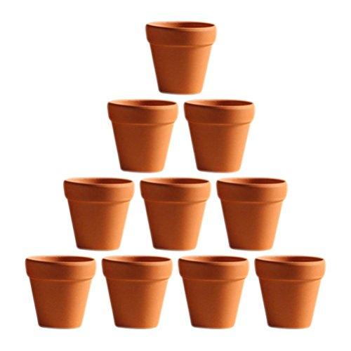 Galleria fotografica Ounona 10pz mini argilla vasi in terracotta argilla ceramica ceramica vasi di fiori vaso cactus succulente nursery pots- ideale per piante, artigianato, wedding favor, 4.5x 4cm
