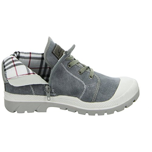 Sneakers 019-131 Unisex Kinder Leinen Stiefelette Grau (Grau)