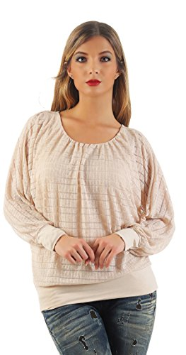 Mr. Shine® – Damen Weit geschnittene Bluse Langarmshirt Loose Fit Bluse Fledermaus-Look Tops mit Rundhals S-XXL (XXL, Beige) (Solid-jersey-henley)