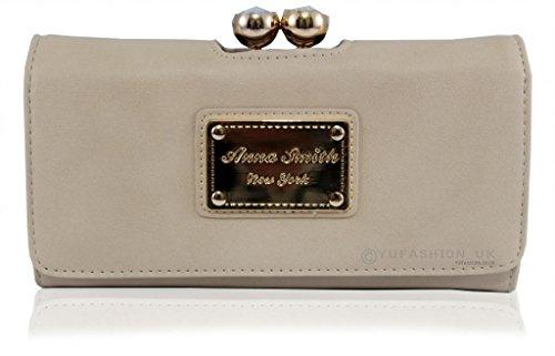 Le novità autentica martinee ANNA ANNA SMITH SMITH con tasca in oro logo piastra, borsa, clutch con scatola regalo Crema