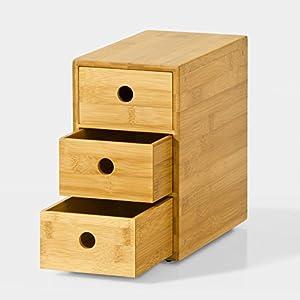 SoBuy® FRG85-N Boîte à Capsules de Café Boîte à thé Porte-Capsules Distributeur de capsules en bambou à 3 tiroirs
