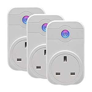 Wi-Fi Smart Plug, TOP-MAX 3 Packs Wireless Smart Switch Socket, Works with Amazon Alexa Echo Google Home, Wireless Smart Home Remote Switch with Timing Function for Apple iPhone and Android Devices (3 Packs)