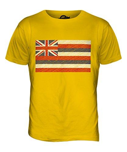 CandyMix Bundesstaat Hawaii Kritzelte Flagge Herren T Shirt Dunkelgelb