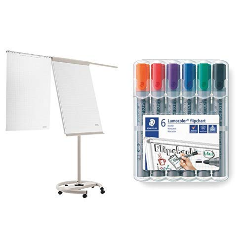 magnetoplan 12270F13 Mobiles Flipchart - de Luxe & Staedtler Lumocolor 356 WP6 Flipchart-Marker, Rundspitze ca. 2 mm Linienbreite, Set mit 6 Farben