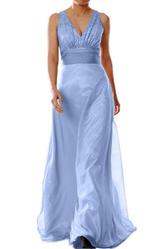MACloth -  Vestito  - linea ad a - Senza maniche  - Donna Azzurro