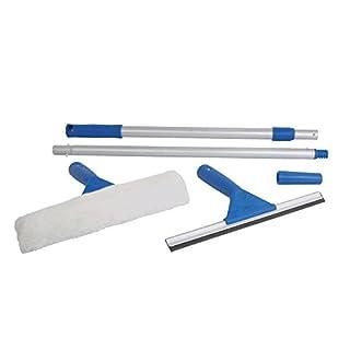 Fensterreinigungsset | AllThingsAccessory® Scheibenwaschreinigungsset mit Rakel | Teleskopstange | Extra Reinigungspads Reinigungsset (blau)