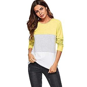AMORETU Camisas Bloque de Color Blusas Tops del Camisetas Manga Larga Camiseta Casual para Mujer