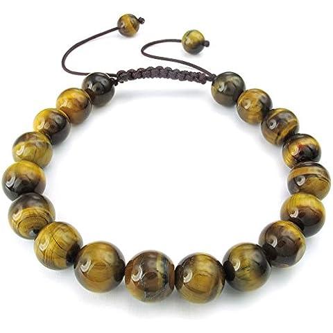 KONOV Joyería Pulsera de hombre mujer, Clásicos Trenzada, Natural Cristal de Roca Ojo de Tigre, Color marrón amarillo (con bolsa de regalo)