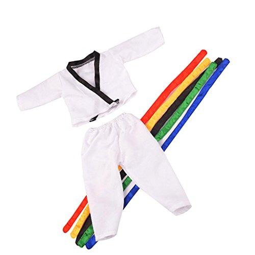 MagiDeal Mode Puppe Taekwondo Dobok Anzugmit 5 Gürtel für 18 '' American Girl / /Journey Girl Puppen Outfit