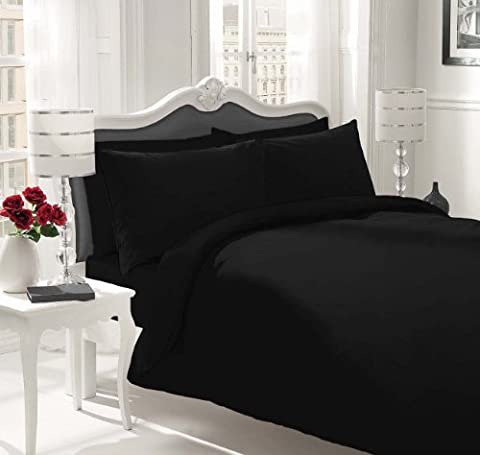 Luxury 100% Egyptian Cotton Duvet Quilt Cover & Pillowcase Bedding Set All Sizes (Black, King) by Sapphire collection