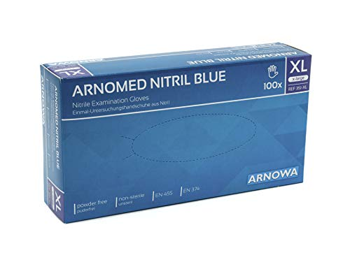 Nitril-Handschuhe puderfrei, blau, Einweg-Handschuhe, Einmal-Handschuhe von ARNOMED, Untersuchungs-Handschuhe, ungepudert, EN 455, EN 374, 100 Stück/Box, Größe XL, extralarge