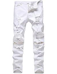 Geurzc Biker Jeans Homme Coupe Droite Straight Déchiré à Trou Destroyed  Ripped Skinny Slim Pantalons en Denim… c21c7bac507