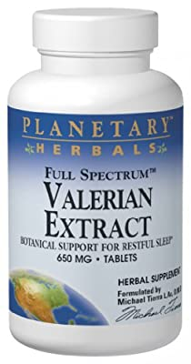 Planetary Herbals Full Spectrum Valerian Extract Tablets, 650 Mg, 60 Count Bottle by Planetary Formulas