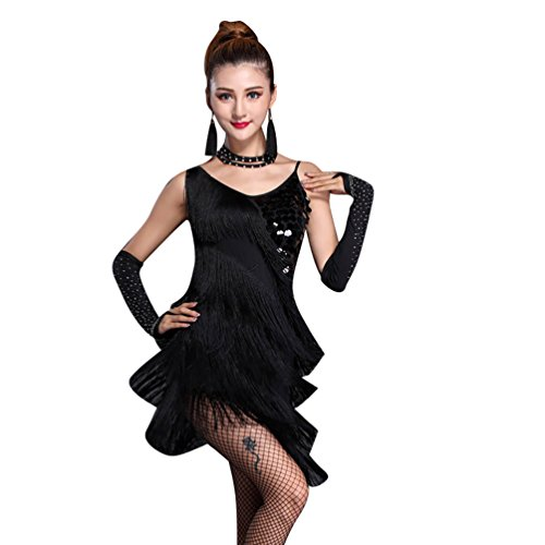 NiSeng Donne Lustrino Latino Abito Tango Rumba Valzer Salsa Nappe Costume Danza Stanza da Ballo L Nero