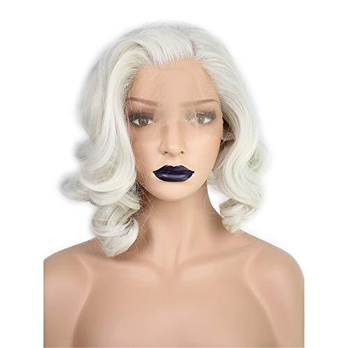 ZYC Kurze Körperwelle Bob White Blonde Freie Teilwelle Hochtemperaturfaser Kunsthaar Lace Front Perücken Für Drag Queen (Perücke White Queen)