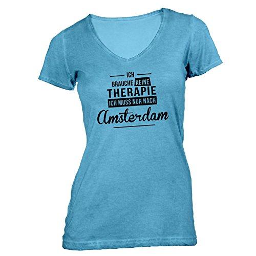 Damen T-Shirt V-Ausschnitt - Ich Brauche Keine Therapie Amsterdam - Therapy Urlaub Holland Hellblau