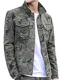 a8c1f993f6fe YuanDian Herrens Herbst Camouflage Button Jacke Casual Dünn Military Style  Printing Lapel Multi-Tasche Männer