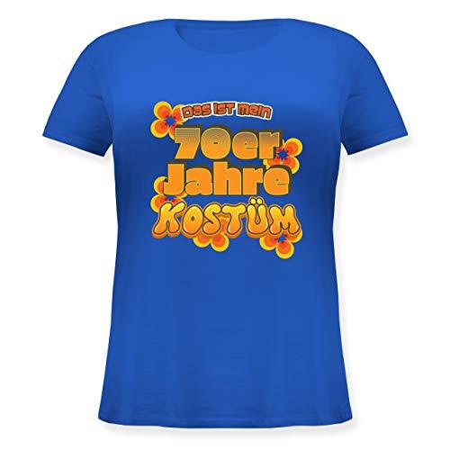 Karneval & Fasching - Das ist Mein 70er Jahre Kostüm - M (46) - Blau - JHK601 - Lockeres Damen-Shirt in großen Größen mit Rundhalsausschnitt