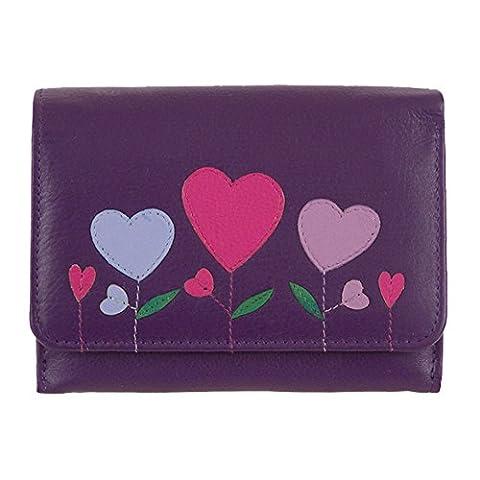 Mala Leather Angelhearts Purple Medium Flap Over Purse