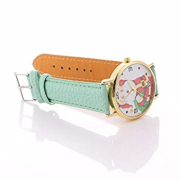 Christmas Quartz Watches,ulanda-eu Xmas Santa Claus Creative Pattern Analog Lady Wrist Watch Female Watches On Sale Watches For Women,round Dial Case Comfortable Leather Wristwatch Ss5 (Mint Green) 3