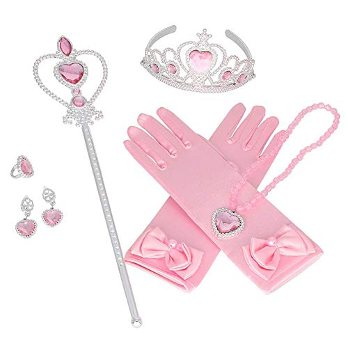 Dire-wolves 6 Pezzi Princess Dress-up Party Accessories Princess Dress-up Accessories Set Princess Dress Up Toys con Corona Collana Guanti Heart Wand Earrings Ring