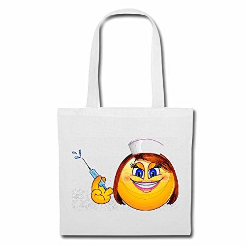 Reifen-Markt sac à bandoulière SMILEY DAME AS INFIRMIÈRE AVEC SERINGUE smile EMOTICON APP de SMILEYS SMILIES ANDROID IPHONE EMOTICONS IOS Sac Turnbeutel scolaire en blanc