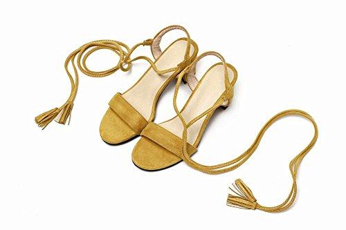 Sandálias Mee Aberto Saltos Rendas Femininos De Calçados Com De Dedo Robustos Amarelo rxrXv1