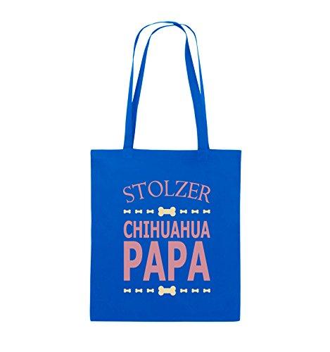 Comedy Bags - Stolzer Chihuahua Papa - Jutebeutel - lange Henkel - 38x42cm - Farbe: Schwarz / Weiss-Neongrün Royalblau / Rosa-Beige