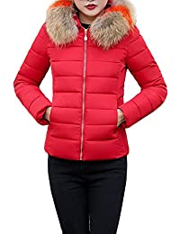 LUNULE Abrigos Abrigos Mujer Invierno,Abrigo con Capucha de Piel sintética Chaqueta Plumas Gruesa de