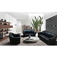 MAB Five Seater Living Room Sofa Set - Black Faux Leather