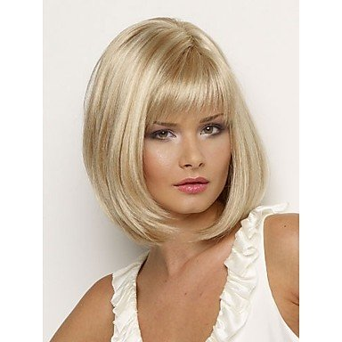 HJL-Bob perruques de cheveux synth¨¦tiques droite courte perruque blonde pour les femmes perruques naturelles avec frange , multicolor