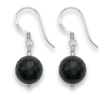 Sterling Silver Faceted Onyx & silver beads ball drop earrings - SIZE: 10mm 7007ON. Shipped in our Quality Silver Gift Box by 1st class mail