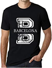 Hombre Camiseta Vintage T-Shirt Gráfico Letter B Countries and Cities Barcelona Negro Profundo