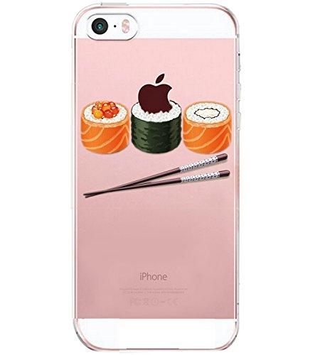 Caler iPhone SE/5s/5 Hülle Weiche Flexible Silikon-Handy-Hülle Transparente Ultra Slim TPU dünne stoßfeste mit Motiv Rundum-Schutz Tasche Etui Schutzhülle Case Cover(Sushi)